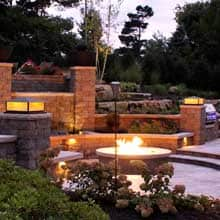 Large stone fire pit gas burning